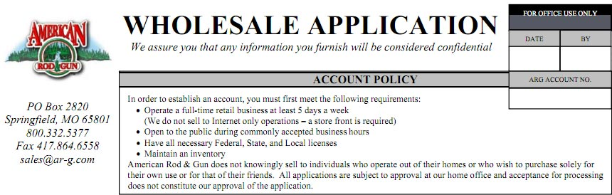 Dealer application template business information for Dealer application template